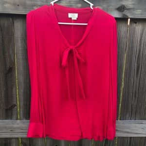 Kate Spade Fuschia Bow Long Sleeve Blouse